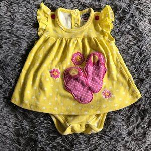 5/$25 PEANUT BUTTONS yellow polka dot romper